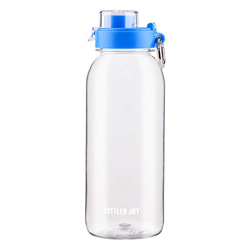 BOTTLED JOY Water Bottle Flip-top with Carabiner Ring, Sports BPA-Free Wide Mouth Tritan Spill Proof and Leak Proof Drinking Bottle 34oz 1 Quart (Clear)