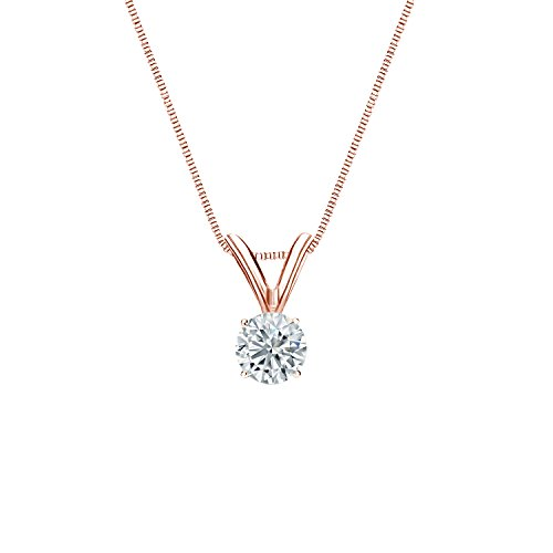 Diamond Wish 14k Rose Gold Round Diamond Solitaire Pendant Necklace (1/5 ct, J-K color, I2-I3 clarity) 4-Prong Basket set with 18