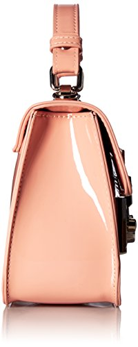 Lock Blush Women Evie Steve Structured Push Handle Handbag Crossbody Patent With Faux Leather Madden Closure Top Flap qwU1wB6