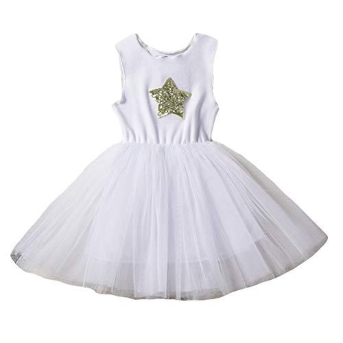 Girls' Tutu Tank Dress Sequin Star Soft Cotton Casual Tulle Sleeveless Ruffle Wedding Party Dress White ()