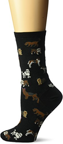 (Hot Sox Women's Dog Lover Novelty Casual Crew Socks, (Black), Shoe Size: 4-10)