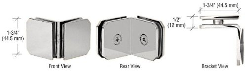 Series 90 Degree Glass - C.R. LAURENCE M0690CH CRL Chrome Monaco Series 90 Degree Glass-to-Glass Clamp