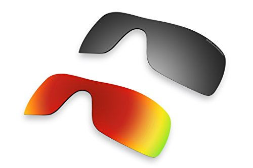2 Pairs Polarized Lenses Replacement Fire red mirror & Black iridium mirror for Oakley Batwolf Sunglasses