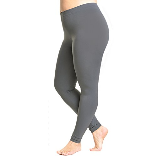 Angelina Full-Length Seamless Plus Size Leggings, #1011Q Gray,Queen Size