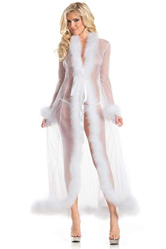 Marabou Feather Robe Adult Costume Accessory White -