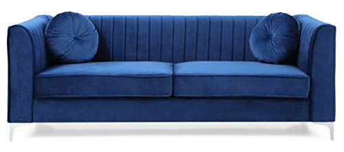 Glory Furniture Delray Sofa, Navy Blue. Living Room Furniture, 3 Seater - Velvet- soft velvet fabric adds style and comfort to this stunning collection. Chrome legs- Top Quality chrome that resists fading and tarnishing adds a modern touch to this already beautiful piece. Throw pillows- plush round pillows are included with every Glory Furniture Delray Item for extra comfort. - sofas-couches, living-room-furniture, living-room - 31j9o82yQOL -