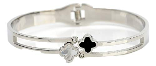 Stylish Dual Strand Designer Bangle Bracelet in Silver (White Gold) Tone with Contemporary Clover Design, Faux Onyx & Mother of Pearl Inlay and Swarovski Style Crystals (160097) ()