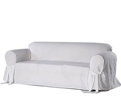 Single Piece Bright White Home Decor Slipcover, Relaxed Fit Sofa Cover,  Cotton Duck Material