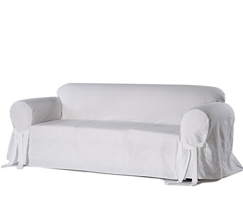 Single Piece Bright White Home Decor Slipcover, Relaxed Fit Sofa Cover, Cotton Duck Material Slipcover With Arms, Straight Skirts And Bowties