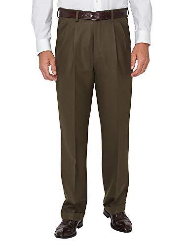 - Paul Fredrick Men's Wool Flannel Pleated Pants Olive 42