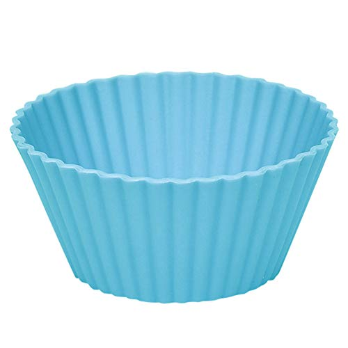 Witspace 6pcs Silicone Round Muffin/Cake/ Waffle Cupcake, Silicone Baking Molds for Party/Holiday/Wedding/Christmas/Halloween (Light Blue)]()