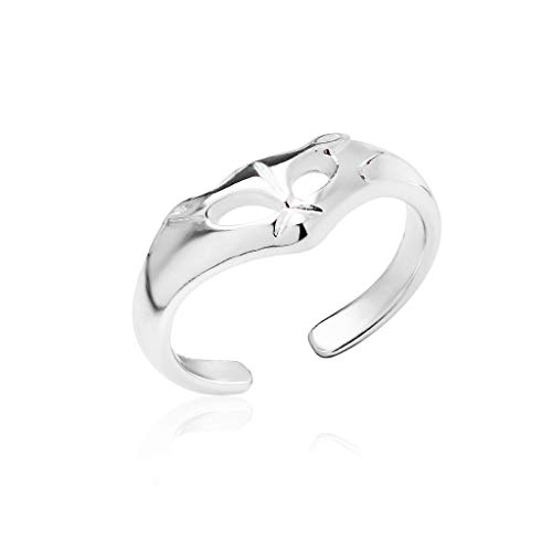 Big Apple Hoops - Genuine 925 Sterling Silver ''Basic and Simple'' Open Knuckle/Toe Ring for Women | All Day Comfort with 17 Unique - Heart Anklet Triple