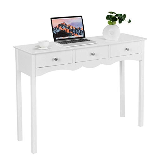 Heavens Tvcz Table Highlight White Modern Elegant Style MDF Material Three Drawers Help Increase Space Placing Of Small Pieces For a Living room, Your Hall and Entrance Decorate Console Table Hall Sid