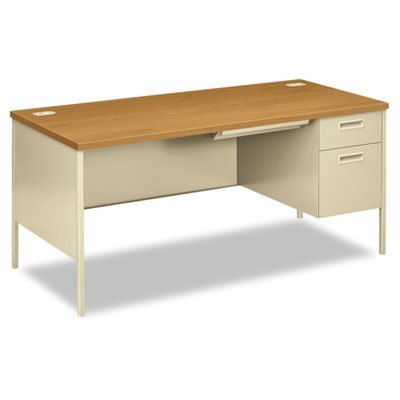 HON Metro Classic Right Pedestal Desk with 1 Box/1 File Drawers and Putty Finish, 66