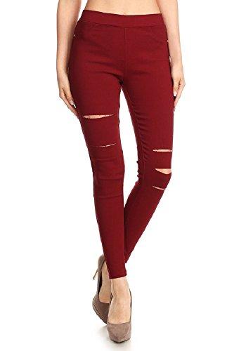 Jvini Women's Pull-On Ripped Distressed Stretch Legging Pants Denim Jean (Medium, Burgundy)