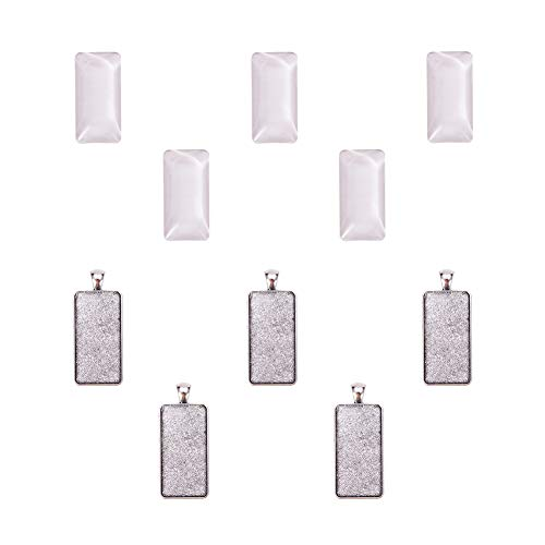 - PH PandaHall 5 Sets Pendant Makings Sets - 5pcs Rectangle Antique Silver Alloy Pendant Trays Bezel Settings and 5pcs Glass Cabochon Dome Tiles Clear Cameo for DIY Jewelry Making
