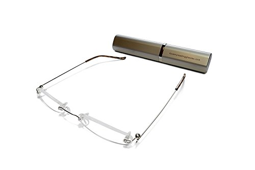 Rimless Reading Glasses for Men and Women +2.5 Silver Ultra Slim and Ultra Light Includes Aluminium Matching Case By - Prescription Designer Glasses Online Uk