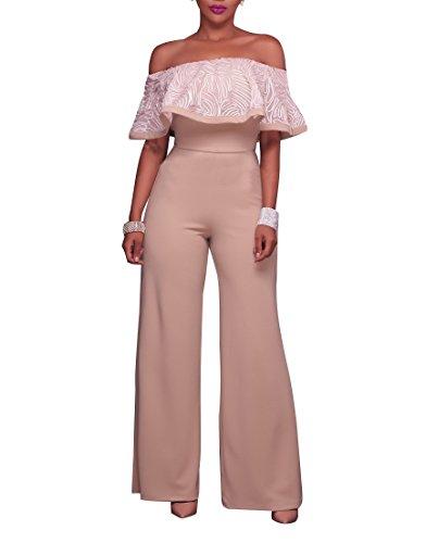 Sexycherry Women Elegant Sexy Off Shoulder High Waist Wide Leg Jumpsuits Rompers Pants (Medium, Apricot)