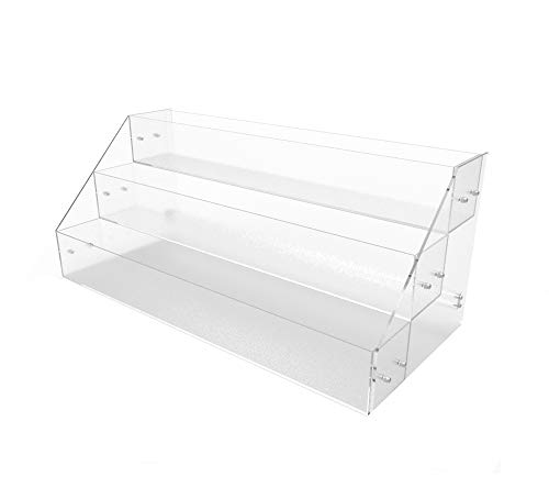 FixtureDisplays Acrylic Candy Bin 3 Tier Literature Rack Dry Food Display Plexiglass Retail Bin Brochure Holder 100817