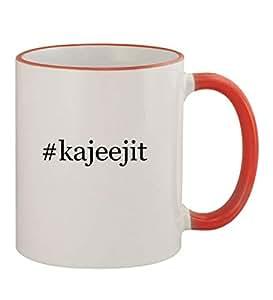 #kajeejit - Funny Hashtag 11oz Red Handle Coffee Mug Cup