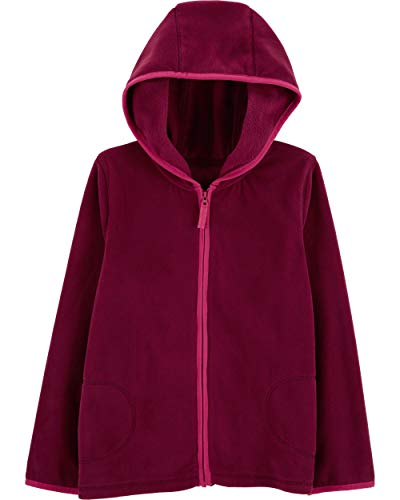 Carter's Girl's Fleece Zip-Up Hoodie (7, - Maroon Jacket Kids