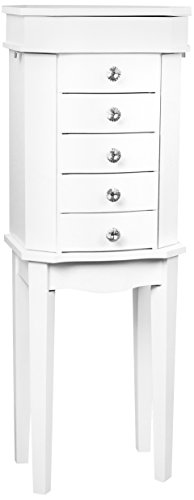 Hives & Honey Erin 5-Drawer White Jewelry Armoire with Mirror Wood Box Storage Chest Cabinet Organizer