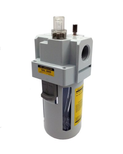 PneumaticPlus SAL3000M-N03B Compressed Air Lubricator, 3/8' Pipe Size, NPT-Poly Bowl with Bracket
