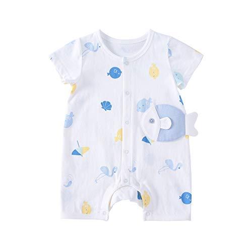 pureborn Baby Boy Girl Romper Cartoon Cotton Short Sleeve Summer Clothes Outfit Onesie White Fish 3-6 Months