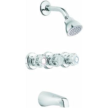 moen three handle shower faucet. Moen 83267 Three Handle Tub Shower Valve  And