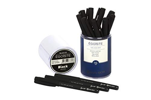 Papa Richi Luxury Gel Pen EGOISTE (Pack of 12 or 24) with Kernel 0.5mm - Premium Quality & Easy Writing - Original (Blue) Ink or Black Ink - Business Gift Pens - 30 Day Warranty (black, 12 pens 0.5)