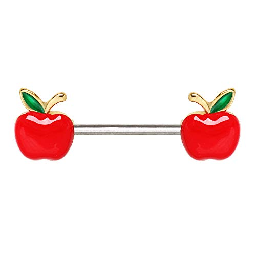 Blue Palm Jewelry Pair of 14 Gauge (1.6mm) 9/16 Inch (14mm) Barbell Gold Plated Red Apple 316L Surgical Steel Nipple Barbell Rings F163