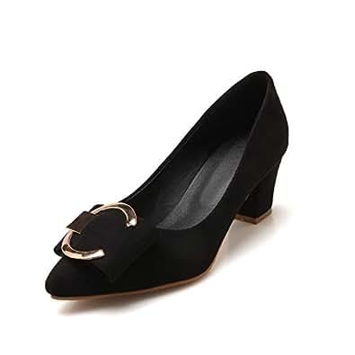 BalaMasa Womens APL12012 Closed-Toe Pointed-Toe Toggle Black Pu Block Heels - 2 UK (Lable:33)