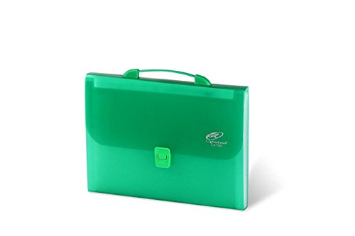 Lightahead® LA-7557 Expanding File Folder with 12 Pockets Tabs, Handle and Insert Button in Green Color