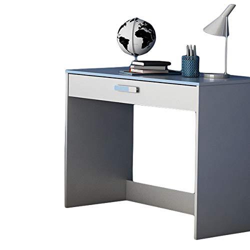 Escritorio Blanco/Azul B 95 cm madera Ordenador Mesa Escritorio ...