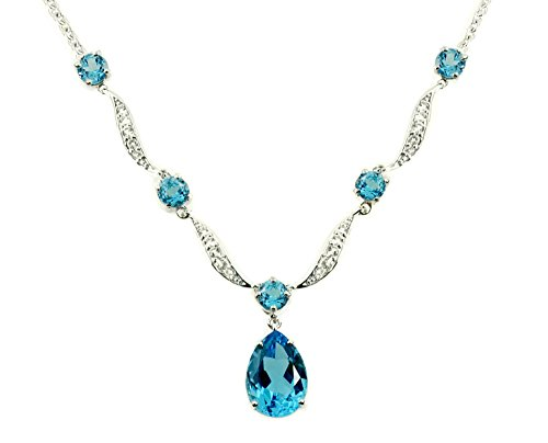 "Sterling Silver 925 Pendant Necklace GENUINE SWISS BLUE TOPAZ 11.22 Cts with RHODIUM-PLATED Finish, 18"" (swiss-blue-topaz)"