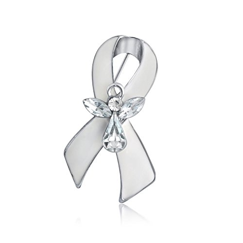 - Bling Jewelry White Ribbon Lung Cancer Survivor Guardian Angel Crystal Pin Brooch Enamel Silver Plated