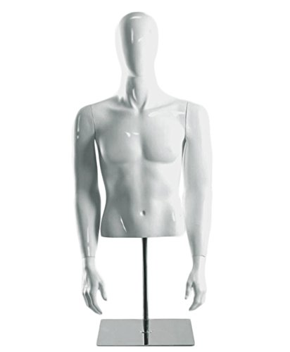 AMKO HM/MHG Glossy Male Half Body Mannequin, 40'' Height, 38'' Chest, 34'' Waist, Glossy White Finish, Plastic Torso Mannequin, Tempered GLASS Base, Adjustable Height, Lightweight by AMKO