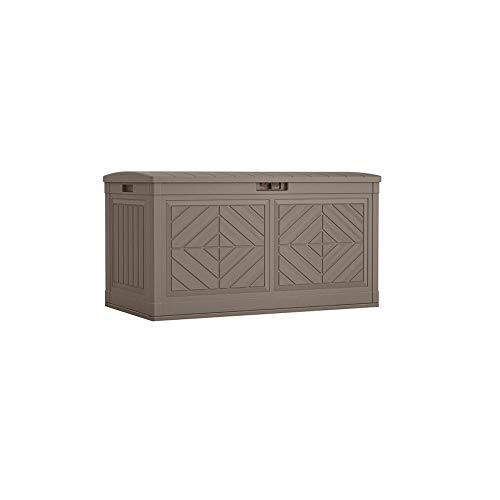 Suncast Baywood 80-Gallon Large Deck Box – Lightweight Resin Outdoor Storage Deck Box for Patio Cushions, Gardening Tools and Toys – Dark Taupe