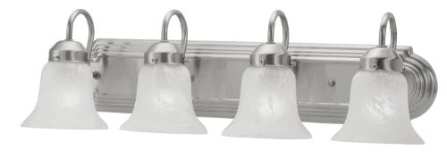 Livex Lighting 1073-91 Home Basics 4 Light Vanity Brushed Nickel with White Alabaster Glass