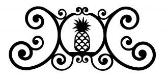 24 Inch Pineapple Over Door Plaque - Wrought Iron Pineapple
