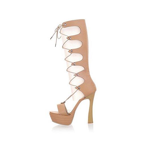 Amoonyfashion Mujer Material Suave Zapatos Abiertos De Tacón Alto Sandalias Planas Con Cordones Beige
