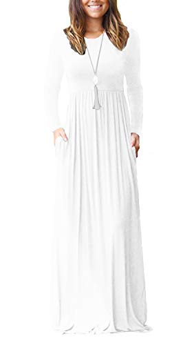 Viishow Women's Long Sleeve Simple Long Dresses with Pockets Loose Plain Maxi Dresses White