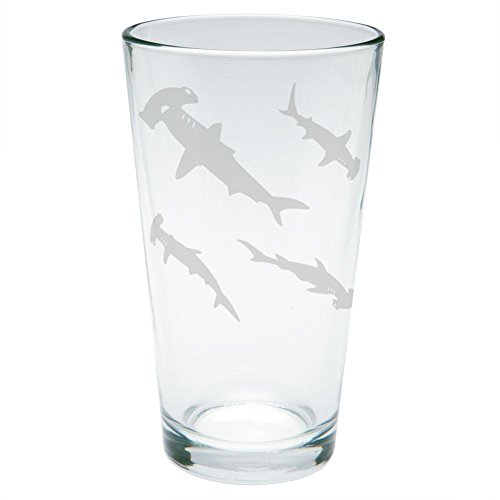 Hammerhead Shark Sharks School Etched Pint Glass Clear Glass Standard One Size by Animal World
