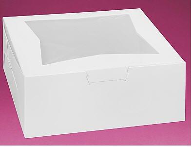 Cakesupplyshoppackaged 6pack 12x12x5 White Cake Box with Window. by CakeSupplyShop