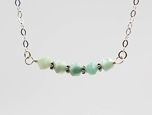 - Blue Peruvian Amazonite Beaded Gemstone Bar Necklace for Women 925 Sterling Silver Chain, 18 Inch