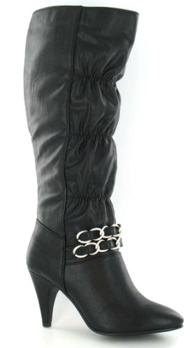 Rouched Heeled Spot Buckle On Size Boot 3 Strap Black UK U6xqRwZ4x