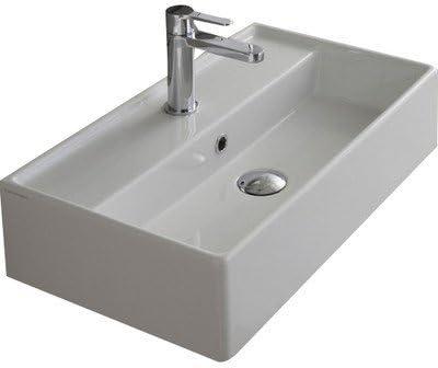 Scarabeo 5002 One Hole Teorema Rectangular Ceramic Wall Mounted Vessel Sink White Amazon Com