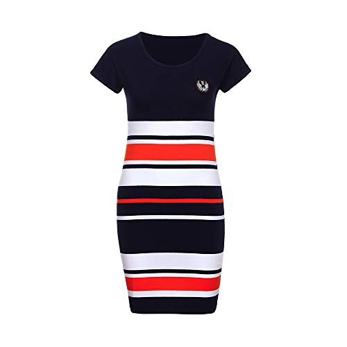 Print Mum (Dress for Baby and Mum Dress Woman Girl Letter Print Stripe Short Sleeve Bohemia Dress Holiday Clothing Toponly)