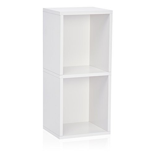 Way Basics Eco 2 Shelf Narrow Bookcase and Storage Unit, White (Tool-Free Assembly and Uniquely Crafted from Sustainable Non Toxic zBoard paperboard)
