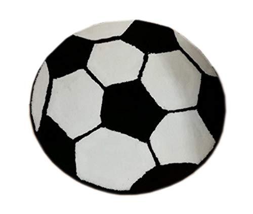KUKISHOP Kids Soccer Football Round Rug Carpet Floor Chair Mat Carpets for Living Room/Bedroom/Hotel Boys Baby Rug (Dia: 31.5